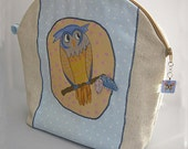 Cosmetic Bag Pouch  Large  Owl Applique Zipped Blue