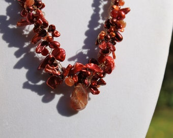 Sunstone Orange Keishi Pearl Carnelian Cluster GoldFilled Necklace Stunning