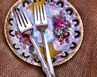 Mismatched Hand Stamped Mr. and Mrs. Wedding Cake Tasting Forks by Blithe Vintage