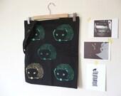 The Hedgehog/ Organic Cotton/ Canvas Tote Bag/ Black & Green
