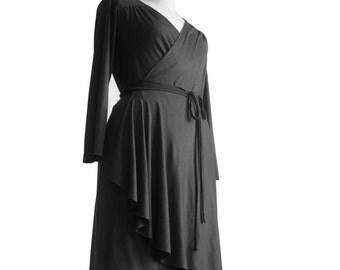 Black dress, Wrap dresses, Long sleeve dress, Knee length dress, Custom dress, Plus Size Dress, Ruffle Dress, Bridesmaid Dress, Womens dress