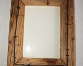 Reclaimed Wood Picture Frame - 5 x 7  - Vintage Telegraph Pole Cross Bar with or without Barbed Wire- Barnwood