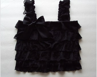 Black ruffle tank top, 3 mos. to 5 yrs. sizes available