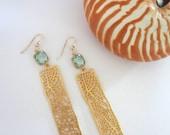 Sea Coral Fan Bar Earrings in Gold