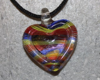 Lampwork Glass Heart Pendant and Necklace Rainbow of Colors