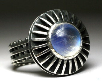 Sterling Silver and Moonstone Studded Shadowbox Ring