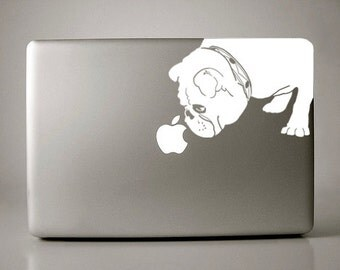 Bridget the English Bulldog Sniffs Apple Decal Macbook