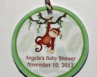 Jungle Monkey Favor Tags- Great for Baby Shower or Birthday Parties - Set of 12
