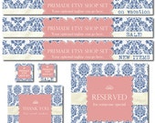Premade Etsy Shop Set, Premade Banners, Avatars, Thank you, Reserved graphic, Vintage label, Coral pink, blue damask