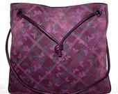 BOTTEGA VENETA Vintage Butterfly Handbag Purple Suede Leather Large Crossbody Tote - AUTHENTIC -