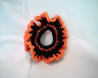 Halloween Black and Orange Crocheted Hair Scrunchie