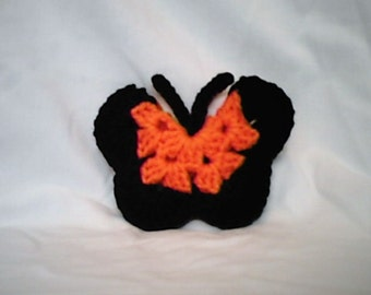 Magnet Halloween Orange and Black Crocheted Butterfly