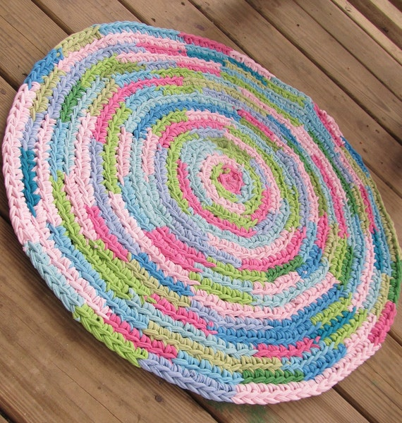 OOAK Upcycled Crochet Round T Shirt Rug. Jumble By