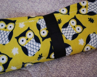 Chalkboard to Go portable chalk cloth placemat - serious owls on a mustard background