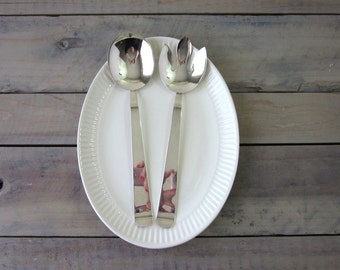 Silver Plate Serving Spoon and Fork Set