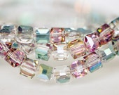 95pcs Cube Glass Crystal Faceted Beads 8mm, Sparkly Green Rose  -(#FZ0801)