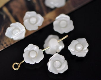 White Mother of Pearl Flowers, 3D Shell MOP Flower Cabochon Beads 10mm - V1023 /10Pcs