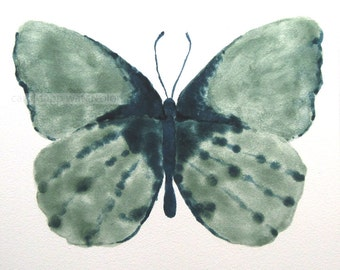 """green butterfly  watercolor original painting 6"""" x 6"""" on Aquabord"""