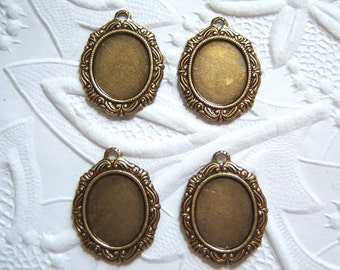 Antiqued brass 12x10mm cabochon setting lot of (4) -  ME132