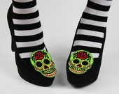 Sugar Skull Shoe Clips, Day of the Dead