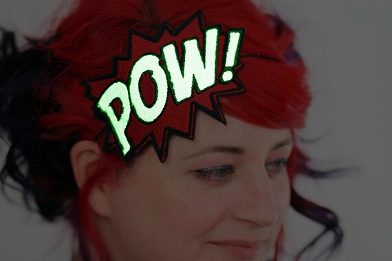 Glow in the Dark POW Headband, Your Colour Choice, UV Reactive- Black FRiday Cyber Monday