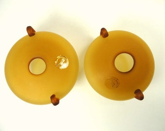 Pair Russian Amber Frosted Glass Bud Vases Hand Blown //Vintage Home Decor
