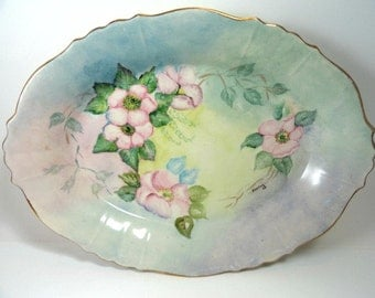 Vintage Oval Serving Bowl Hand Painted Artist Signed, Blue with Pink Flowers Scalloped Gold Rim//Vintage Serveware
