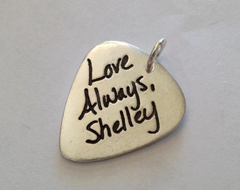 Silver Guitar Pic With Your Actual Writing Choose Pic, Pendant or Key Fob Gift