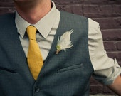 HENRY Feather Boutonniere with Rustic Twine and Green Moss