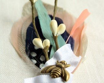PEMBERTON Boutonniere / Corsage in Greige, Navy, Aqua and Persimmon with Ivory Berries, White Ruffle Wrap and Antique Brass Bee