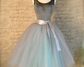 Dove gray and light blue tutu skirt for women.  Ballet glamour. Retro look tulle skirt. Also shown in dove grey/pink.