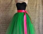 Kelly green and raspberry pink  tutu skirt for women.  Ballet glamour. Retro look tulle skirt.