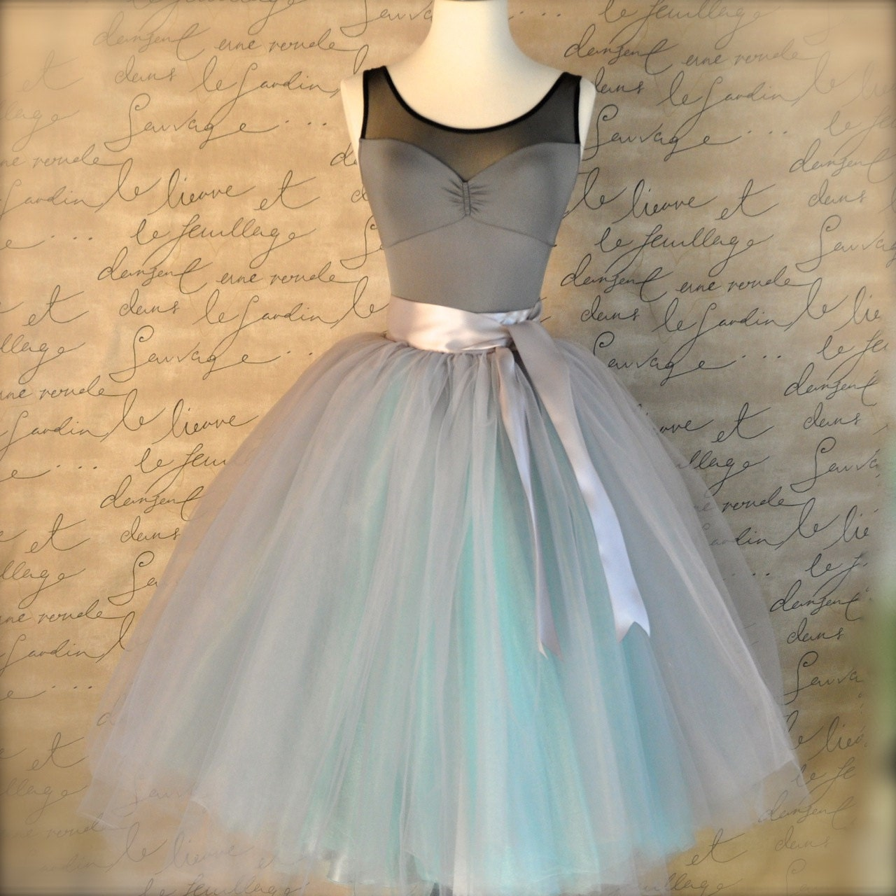 Dove gray and light blue tutu skirt for women. Ballet