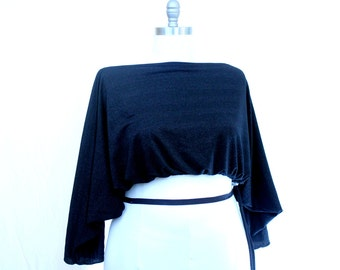 Plus Size Black Glitter Shrug Bolero Coverup Fits sizes (8 - 22)