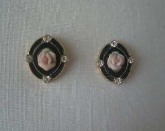 Vintage Trifari Porcelain Rose in Black Lacquer and Rhinestone Frame Post Earrings