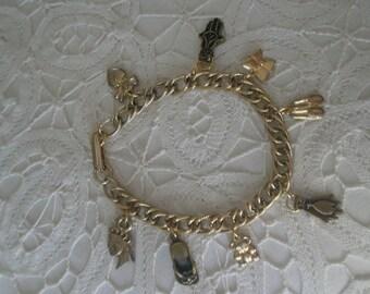 Vintage Gold Tone Happiness Charm Bracelet