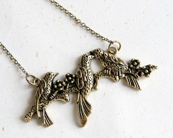 Love Birds Necklace (N319) - triple bird on a branch