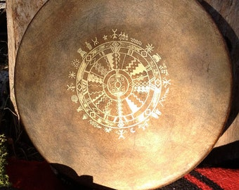 """MEDICINE WHEEL All Our Relations - Native American style shamanic drum with signature totem & symbology artwork - 14"""" diameter"""