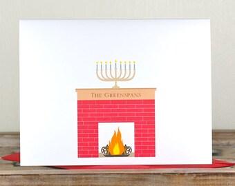 Hanukkah menorah, Hanukkah, Hanukkah cards, Jewish Holiday Cards, Holiday cards, Menorah, Yule Log, Fireplace, Fire Place