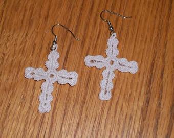 Crocheted Cross Earrings