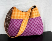 The Millie Bag by Nstarstudio - Hobo Shoulder Sling Bag- Purple, Orange and Brown Fabric
