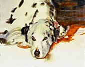 Dalmatian-Dal Dall Watercolor dog and cat print SIGNED by the Artist Carol Ratafia DOUBLE MATTED to 16x20
