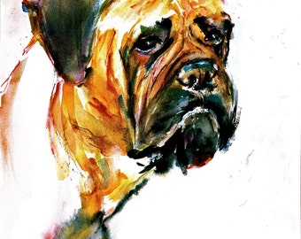Bull Mastiff - Bully-bullei- Watercoler dog Print SIGNED by the Artist Carol Ratafia DOUBLE MATTED to 16x20