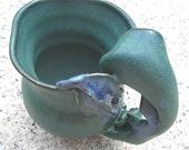 Forget Me Not, Porcelain Creamer Vase, Lush Rich Green Decorative Sculptural Gift