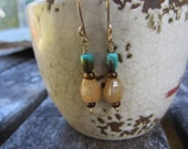 Turquoise and Cream Agate Earrings