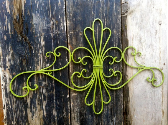 Distressed Metal Wall Decor : Green distressed scroll iron wall decor hanging metal
