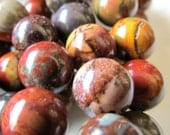 Jasper Beads 12mm Smooth Round Natural Picasso Jasper Multicolored Rounds - 6 Pieces