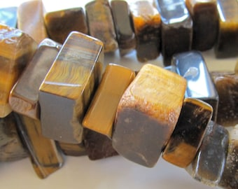 Tiger Eye Beads 20 x 10mm Smooth Chatoyant Golden Brown Tigereye Freeform Slabs - 8 pieces