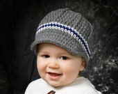 Boys crochet newsboy hat, crochet baby boy hat, toddler boys hat, children spring clothing, grey white and navy blue - pick colors and size