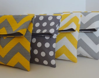 READY TO SHIP Yellow and Gray Bridesmaid Clutch set in Chevron and Polka Dot Set if 5 medium bags